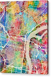 Philadelphia Pennsylvania Street Map Acrylic Print by Michael Tompsett