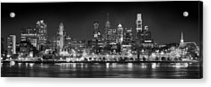 Philadelphia Philly Skyline At Night From East Black And White Bw Acrylic Print by Jon Holiday