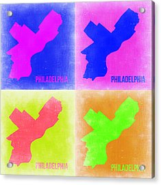 Philadelphia Pop Art Map 2 Acrylic Print by Naxart Studio