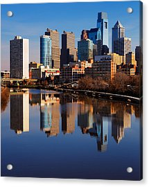Philadelphia Reflected In The Still Watera Acrylic Print by Sophie James