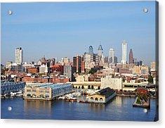 Philadelphia River View Acrylic Print by Bill Cannon