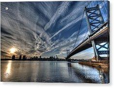 Philadelphia Skyline - Camden View Of Ben Franklin Bridge Acrylic Print