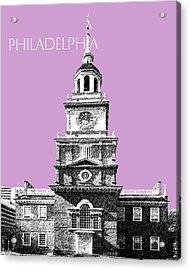 Philadelphia Skyline Independence Hall - Light Plum Acrylic Print