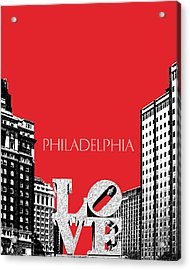 Philadelphia Skyline Love Park - Red Acrylic Print by DB Artist