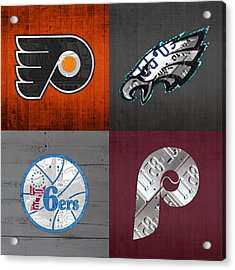 Philadelphia Sports Fan Recycled Vintage Pennsylvania License Plate Art Flyers Eagles 76ers Phillies Acrylic Print by Design Turnpike