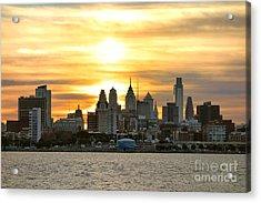 Philadelphia Sunset Acrylic Print by Olivier Le Queinec