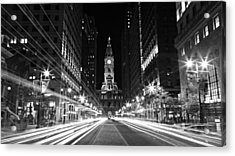 Philadephia City Hall -- Black And White Acrylic Print by Stephen Stookey