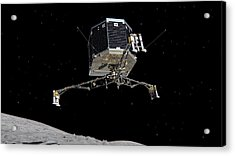 Acrylic Print featuring the photograph Philae Lander Descending To Comet 67pc-g by Science Source