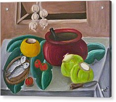 Philippine Still Life With Fish And Coconuts 2 Acrylic Print