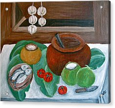 Philippine Still Life With Fish And Coconuts Acrylic Print