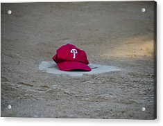 Phillies Hat On Home Plate Acrylic Print by Bill Cannon