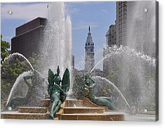 Philly Fountain Acrylic Print by Bill Cannon