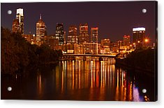Philly Lights Reflected Acrylic Print