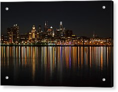 Philly Night Acrylic Print by Jennifer Ancker