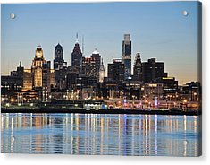 Philly Sunset Acrylic Print by Jennifer Ancker