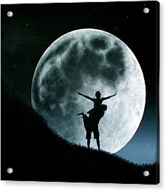 Acrylic Print featuring the painting Philos Under A Full Moon Rising by Ric Nagualero