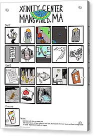 Phish 7/1/14 Mansfield Illustrated Setlist Acrylic Print