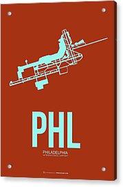 Phl Philadelphia Airport Poster 2 Acrylic Print by Naxart Studio
