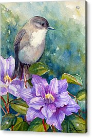 Phoebe And Clematis Acrylic Print