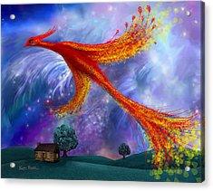 Phoenix Flying At Night Acrylic Print