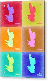 Phoenix Pop Art Map 3 Acrylic Print by Naxart Studio