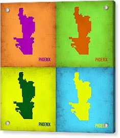 Phoenix Pop Art Map Acrylic Print by Naxart Studio