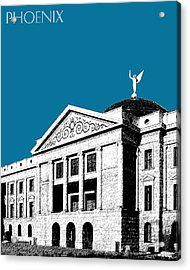 Phoenix Skyline Arizona Capital Building - Steel Blue Acrylic Print
