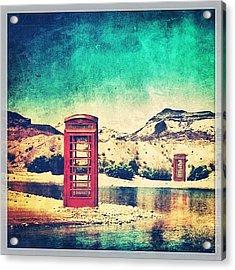 #phone #telephone #box #booth #desert Acrylic Print