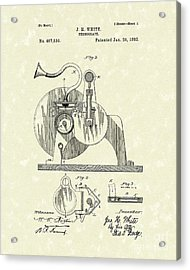 Phonograph 1892 Patent Art Acrylic Print by Prior Art Design