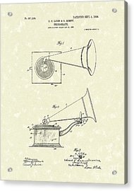 Phonograph 1908 Patent Art Acrylic Print by Prior Art Design