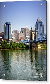Photo Of Cincinnati Skyline And Roebling Bridge Acrylic Print