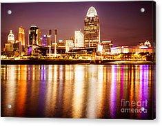 Photo Of Cincinnati Skyline At Night Acrylic Print by Paul Velgos