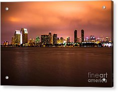 Photo Of San Diego At Night Acrylic Print by Paul Velgos