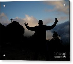 Photographer Shadow With Cross Acrylic Print