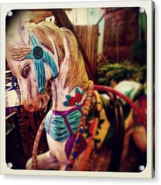Blue Heaven Carousel Horse Acrylic Print