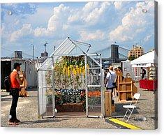 Photoville Under The Brooklyn Bridge Acrylic Print by Diane Lent