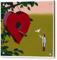 Physician Releasing Dove Acrylic Print by Jonathan Evans