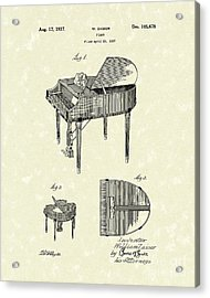 Piano 1937 Patent Art Acrylic Print by Prior Art Design