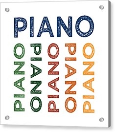 Piano Cute Colorful Acrylic Print by Flo Karp