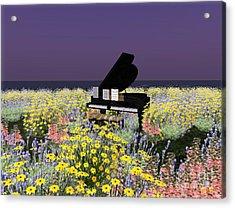 Acrylic Print featuring the digital art Piano In Spring by Susanne Baumann