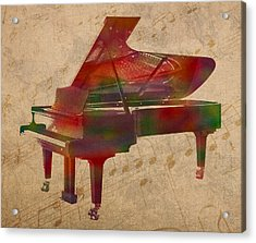 Piano Instrument Watercolor Portrait With Sheet Music Background On Worn Canvas Acrylic Print by Design Turnpike