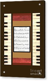 piano keys sheet music to Keep Of The Promise by Kristie Hubler Acrylic Print by Kristie Hubler