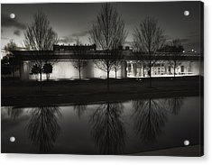 Piano Pavilion Bw Reflections Acrylic Print by Joan Carroll