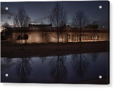 Piano Pavilion Night Reflections Acrylic Print by Joan Carroll