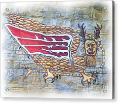Acrylic Print featuring the photograph Piasa Bird In Oils by Kelly Awad