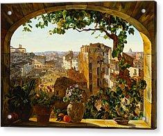 Piazza Barberini In Rome Acrylic Print by Karl von Bergen