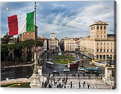 Acrylic Print featuring the photograph Piazza Venezia by John Wadleigh