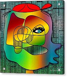Picasso Inspired Cartoon Acrylic Print by Iris Gelbart