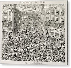 Piccadilly During The Great Exhibition Acrylic Print by George Cruikshank