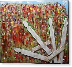 Picket Fence Flower Garden Acrylic Print